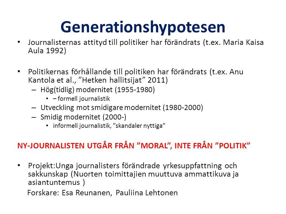 Generationshypotesen • Journalisternas attityd till politiker har förändrats (t.ex.