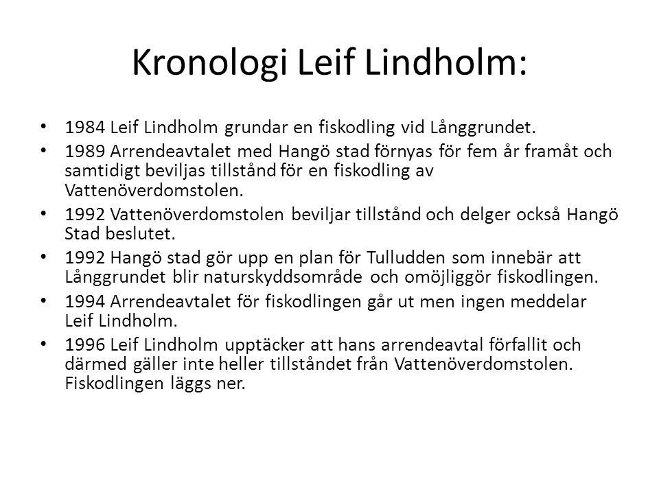 Kronologi Leif Lindholm: • 1984 Leif Lindholm grundar en fiskodling vid Långgrundet. • 1989 Arrendeavtalet med Hangö stad förnyas för fem år framåt oc