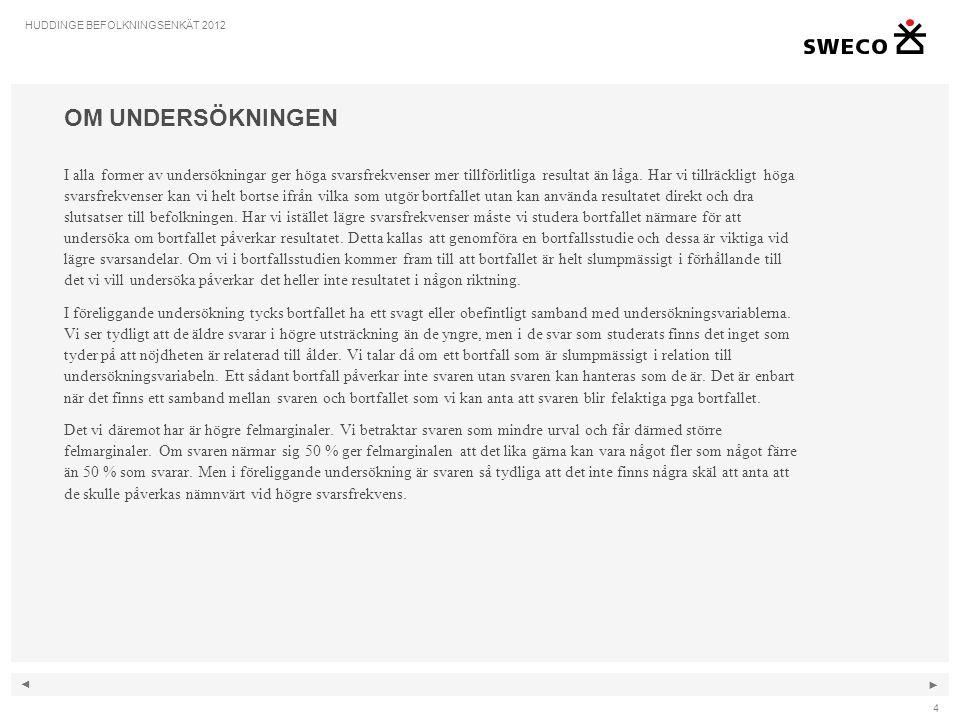 ◄ ► 95 HUDDINGE BEFOLKNINGSENKÄT 2012 ARBETE 89.