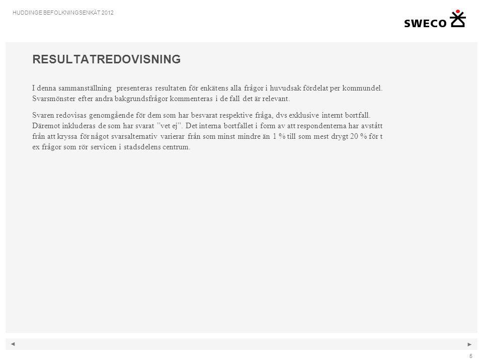 ◄ ► 6 HUDDINGE BEFOLKNINGSENKÄT 2012 BOSTADSOMRÅDET