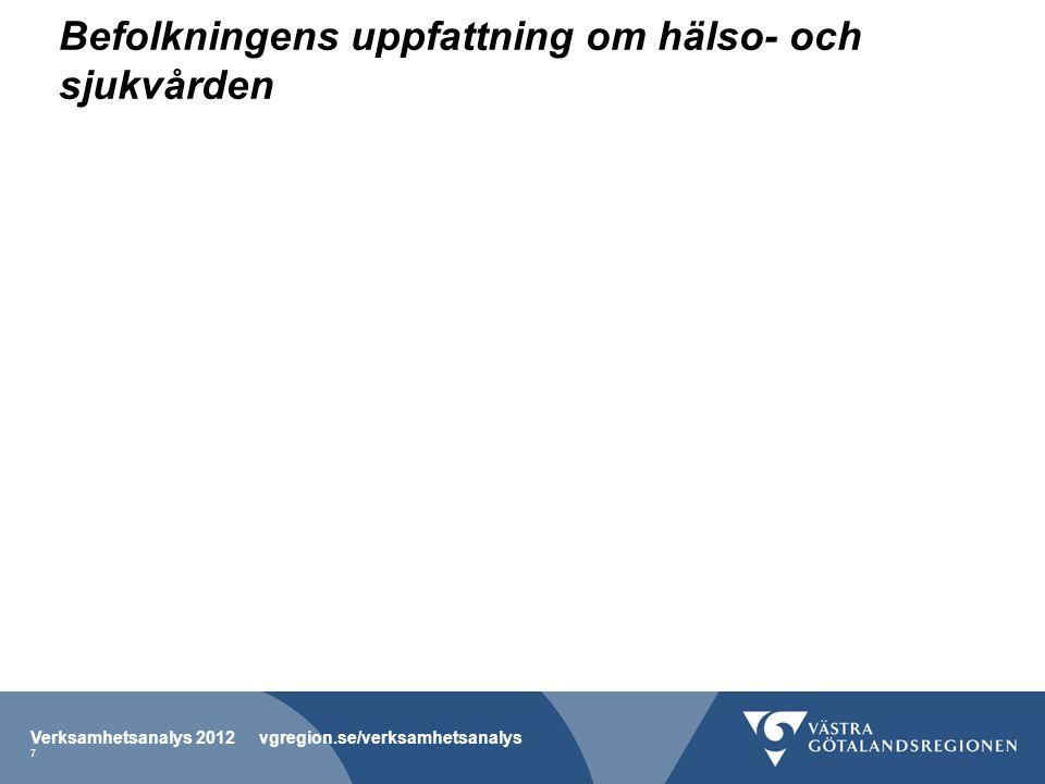 Befolkningens uppfattning om hälso- och sjukvården Verksamhetsanalys 2012 vgregion.se/verksamhetsanalys 7