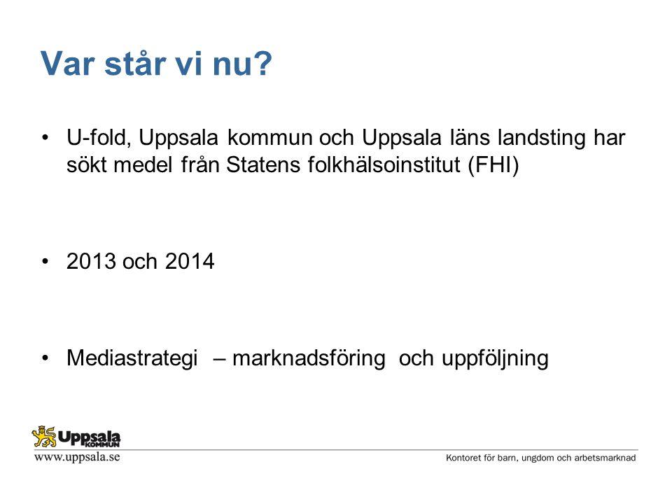 Var står vi nu? •U-fold, Uppsala kommun och Uppsala läns landsting har sökt medel från Statens folkhälsoinstitut (FHI) •2013 och 2014 •Mediastrategi –
