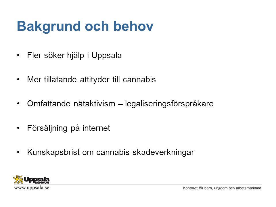 Bakgrund och behov •Fler söker hjälp i Uppsala •Mer tillåtande attityder till cannabis •Omfattande nätaktivism – legaliseringsförspråkare •Försäljning på internet •Kunskapsbrist om cannabis skadeverkningar