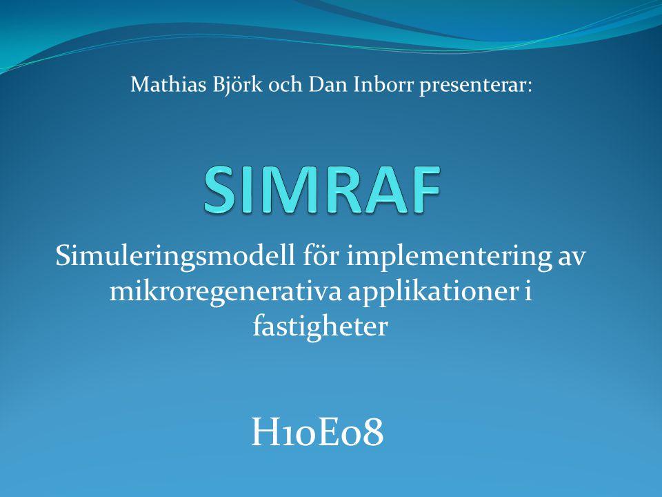 Simuleringsmodell för implementering av mikroregenerativa applikationer i fastigheter H10E08 Mathias Björk och Dan Inborr presenterar: