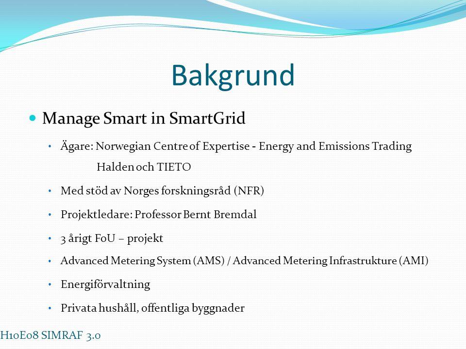 Bakgrund  Manage Smart in SmartGrid • Ägare: Norwegian Centre of Expertise - Energy and Emissions Trading Halden och TIETO • Med stöd av Norges forsk