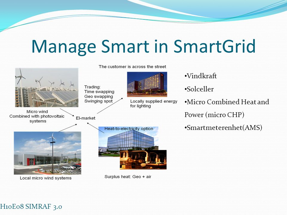 Manage Smart in SmartGrid • Vindkraft • Solceller • Micro Combined Heat and Power (micro CHP) • Smartmeterenhet(AMS) H10E08 SIMRAF 3.0
