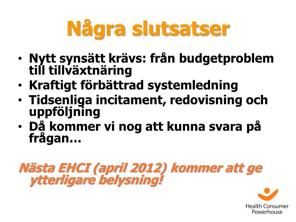Några slutsatser • Nytt synsätt krävs: från budgetproblem till tillväxtnäring • Kraftigt förbättrad systemledning • Tidsenliga incitament, redovisning och uppföljning • Då kommer vi nog att kunna svara på frågan… Nästa EHCI (april 2012) kommer att ge ytterligare belysning!