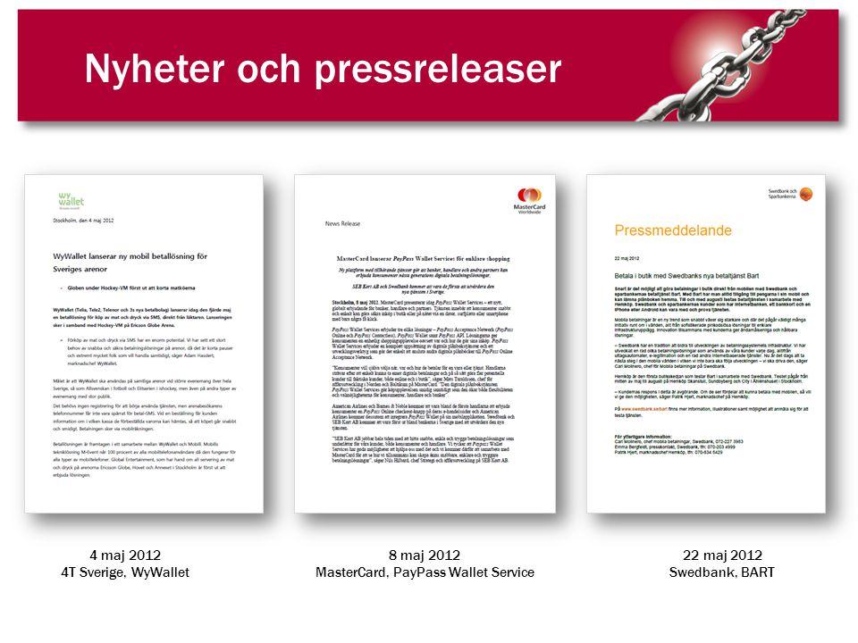 Nyheter och pressreleaser 4 maj 2012 4T Sverige, WyWallet 8 maj 2012 MasterCard, PayPass Wallet Service 22 maj 2012 Swedbank, BART