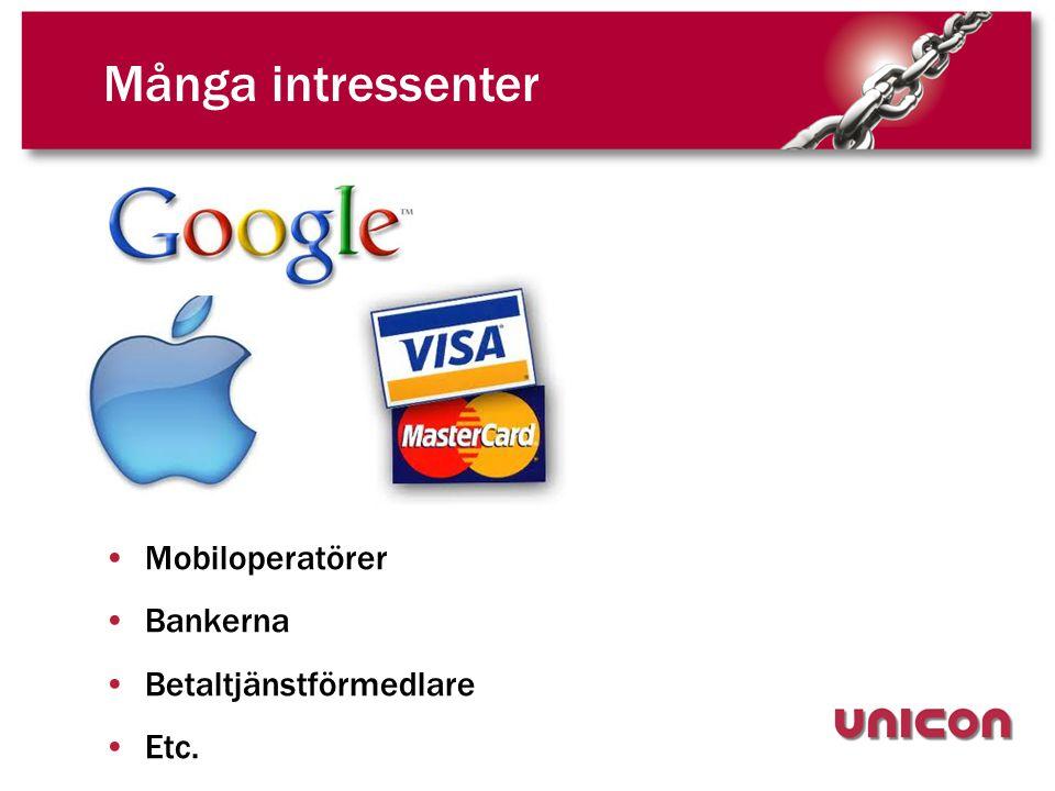 Många intressenter •Mobiloperatörer •Bankerna •Betaltjänstförmedlare •Etc.