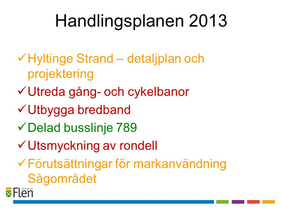 Handlingsplanen 2013  Hyltinge Strand – detaljplan och projektering  Utreda gång- och cykelbanor  Utbygga bredband  Delad busslinje 789  Utsmyckn