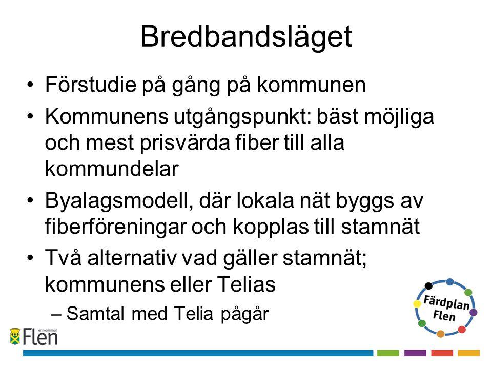 Bredbandsläget •Förstudie på gång på kommunen •Kommunens utgångspunkt: bäst möjliga och mest prisvärda fiber till alla kommundelar •Byalagsmodell, där