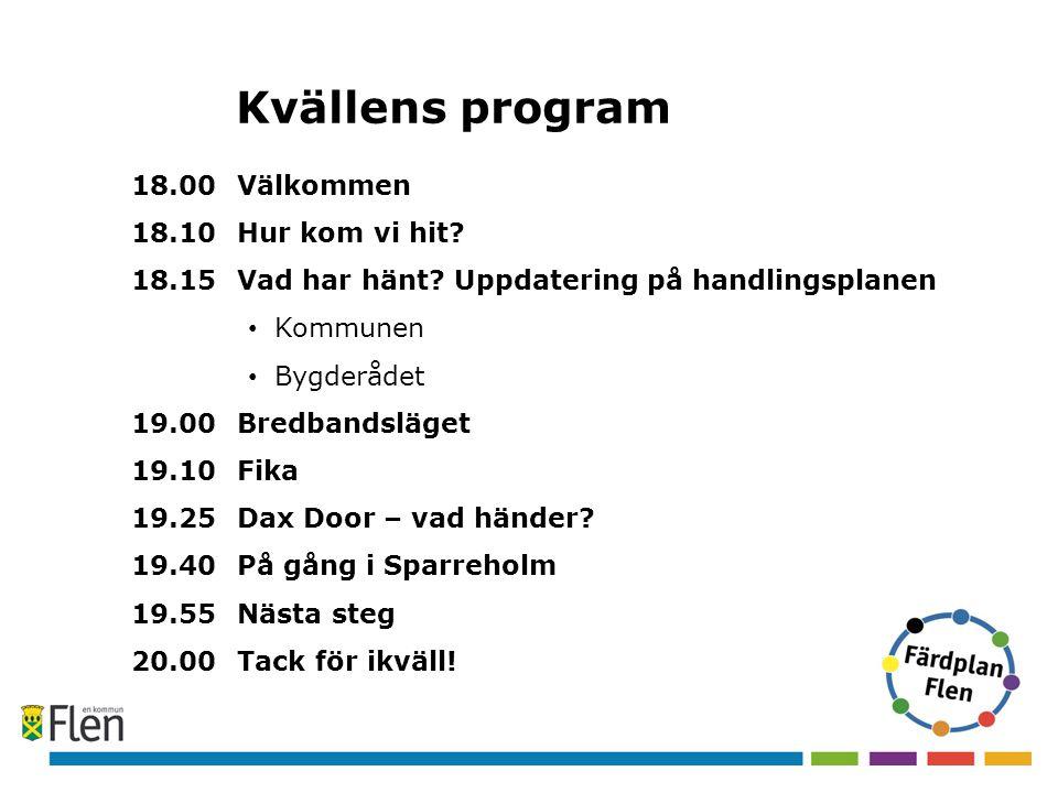 Kvällens program 18.00 Välkommen 18.10Hur kom vi hit? 18.15 Vad har hänt? Uppdatering på handlingsplanen • Kommunen • Bygderådet 19.00 Bredbandsläget