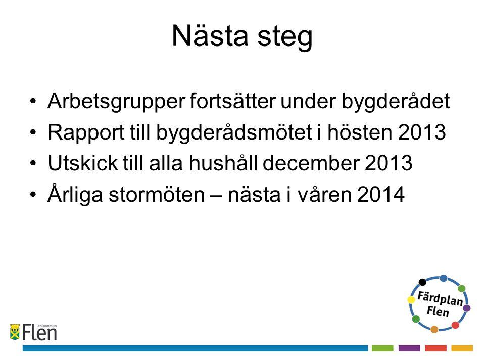 Nästa steg •Arbetsgrupper fortsätter under bygderådet •Rapport till bygderådsmötet i hösten 2013 •Utskick till alla hushåll december 2013 •Årliga stor