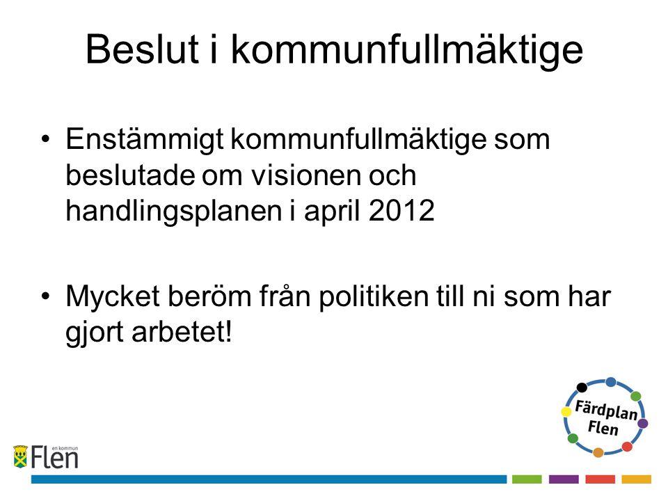 Beslut i kommunfullmäktige •Enstämmigt kommunfullmäktige som beslutade om visionen och handlingsplanen i april 2012 •Mycket beröm från politiken till