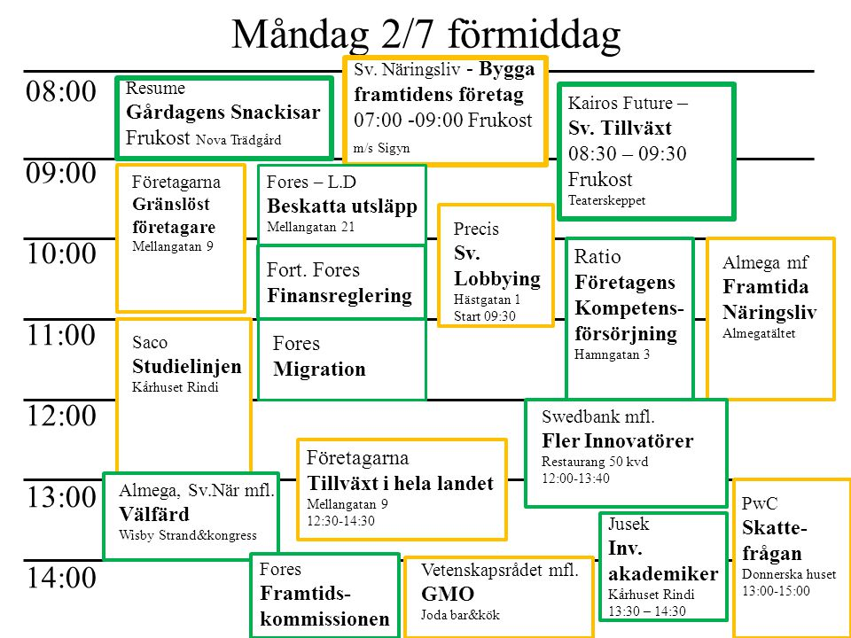 Måndag 2/7 förmiddag 08:00 09:00 10:00 11:00 12:00 13:00 14:00 Resume Gårdagens Snackisar Frukost Nova Trädgård Sv. Näringsliv - Bygga framtidens före