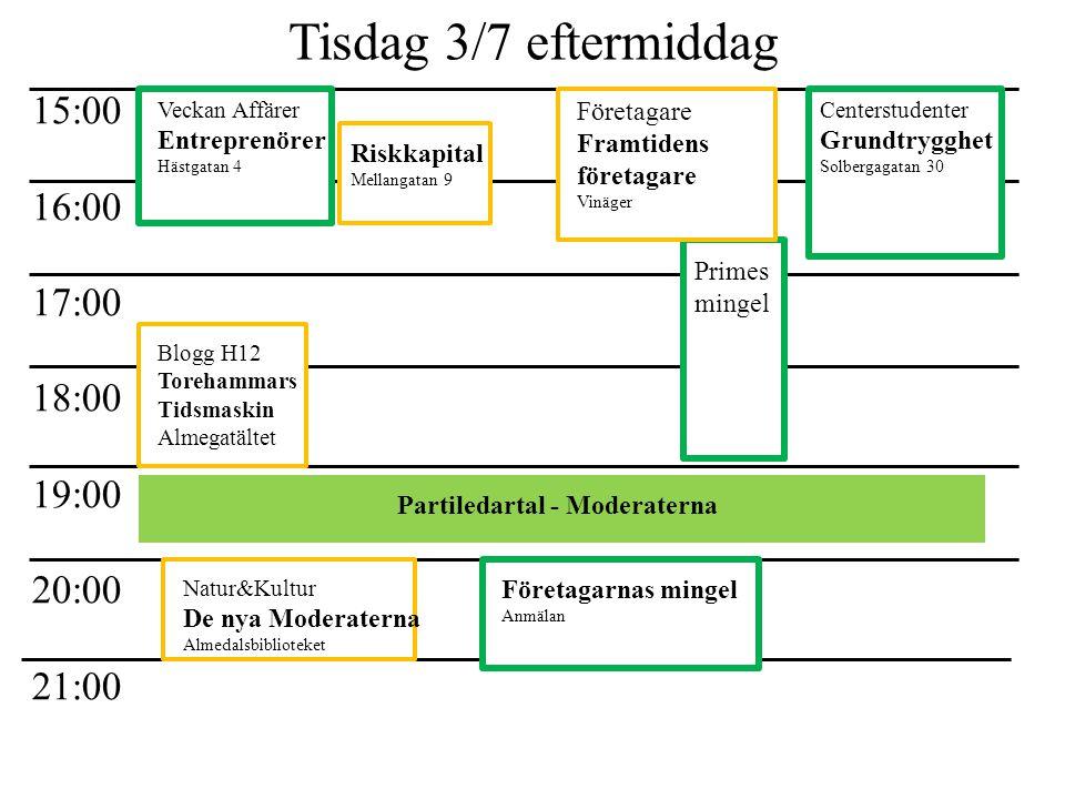 Tisdag 3/7 eftermiddag 15:00 16:00 17:00 18:00 19:00 20:00 21:00 Partiledartal - Moderaterna Veckan Affärer Entreprenörer Hästgatan 4 Riskkapital Mell