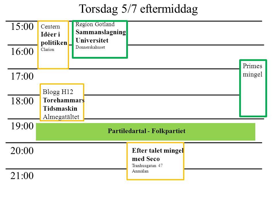Torsdag 5/7 eftermiddag 15:00 16:00 17:00 18:00 19:00 20:00 21:00 Partiledartal - Folkpartiet Primes mingel Centern Idéer i politiken Clarion Region G
