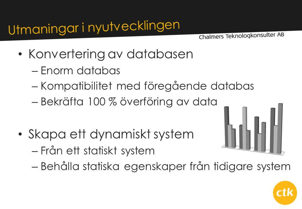 • Konvertering av databasen – Enorm databas – Kompatibilitet med föregående databas – Bekräfta 100 % överföring av data • Skapa ett dynamiskt system – Från ett statiskt system – Behålla statiska egenskaper från tidigare system