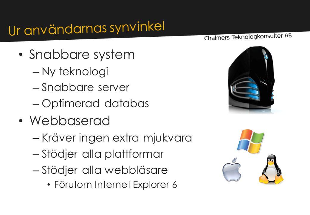 • Snabbare system – Ny teknologi – Snabbare server – Optimerad databas • Webbaserad – Kräver ingen extra mjukvara – Stödjer alla plattformar – Stödjer alla webbläsare • Förutom Internet Explorer 6