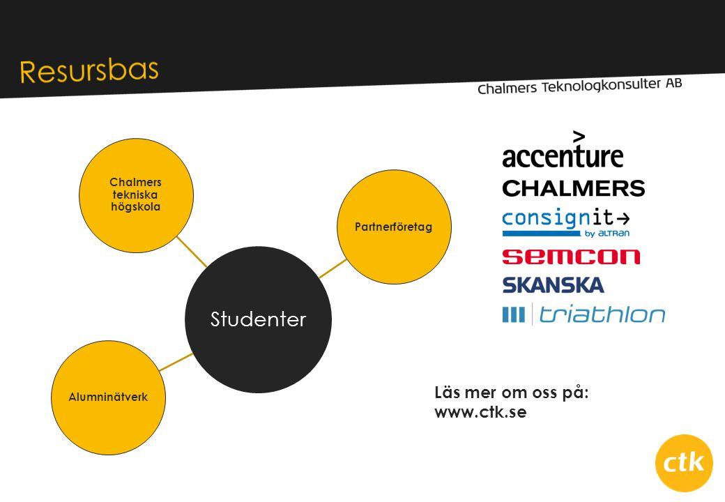 Studenter Chalmers tekniska högskola PartnerföretagAlumninätverk Läs mer om oss på: www.ctk.se