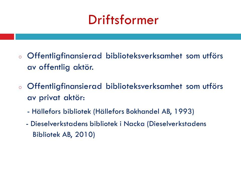 Driftsformer o Offentligfinansierad biblioteksverksamhet som utförs av offentlig aktör. o Offentligfinansierad biblioteksverksamhet som utförs av priv
