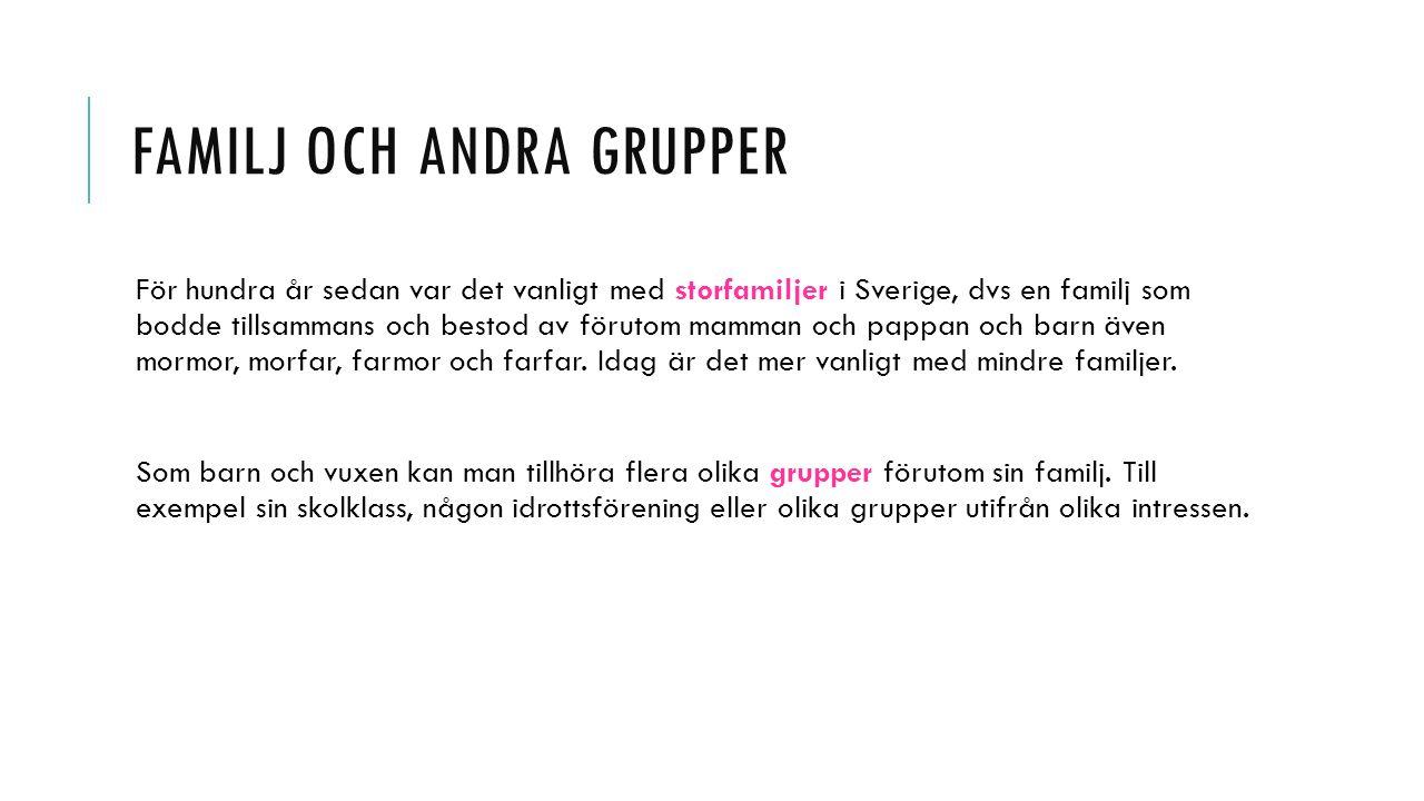 FAMILJ OCH ANDRA GRUPPER För hundra år sedan var det vanligt med storfamiljer i Sverige, dvs en familj som bodde tillsammans och bestod av förutom mam