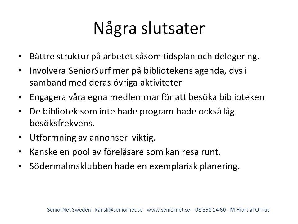 Några slutsater • Bättre struktur på arbetet såsom tidsplan och delegering. • Involvera SeniorSurf mer på bibliotekens agenda, dvs i samband med deras