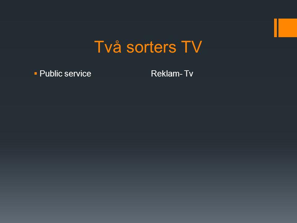 Två sorters TV  Public serviceReklam- Tv