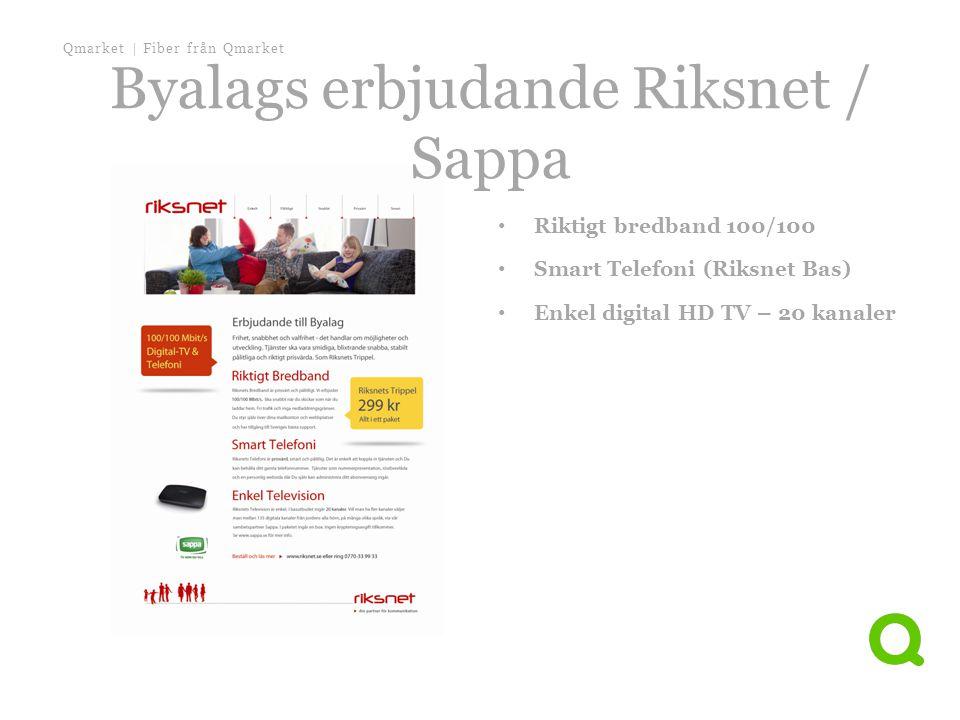 Qmarket | Fiber från Qmarket • Riktigt bredband 100/100 • Smart Telefoni (Riksnet Bas) • Enkel digital HD TV – 20 kanaler Byalags erbjudande Riksnet /