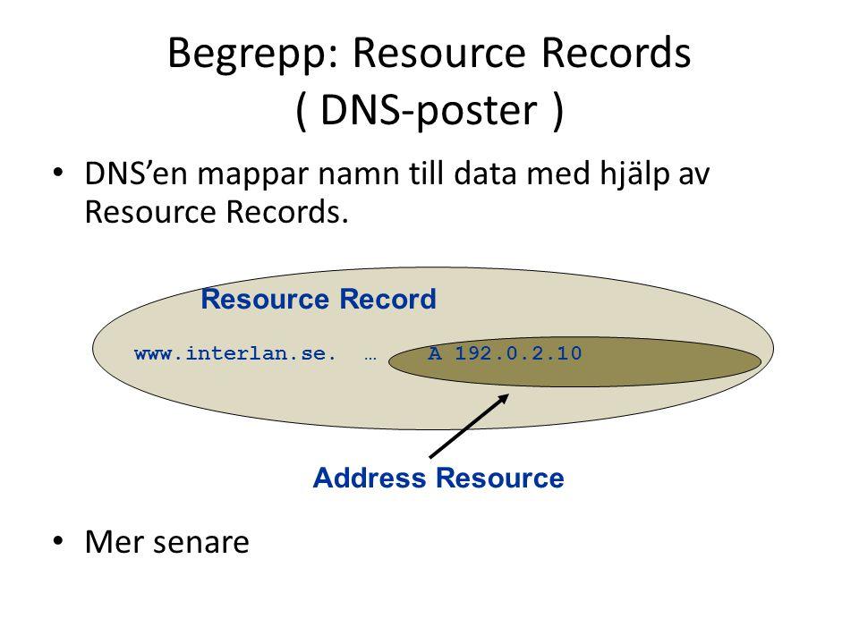• DNS'en mappar namn till data med hjälp av Resource Records. • Mer senare www.interlan.se. … A 192.0.2.10 Begrepp: Resource Records ( DNS-poster ) Ad
