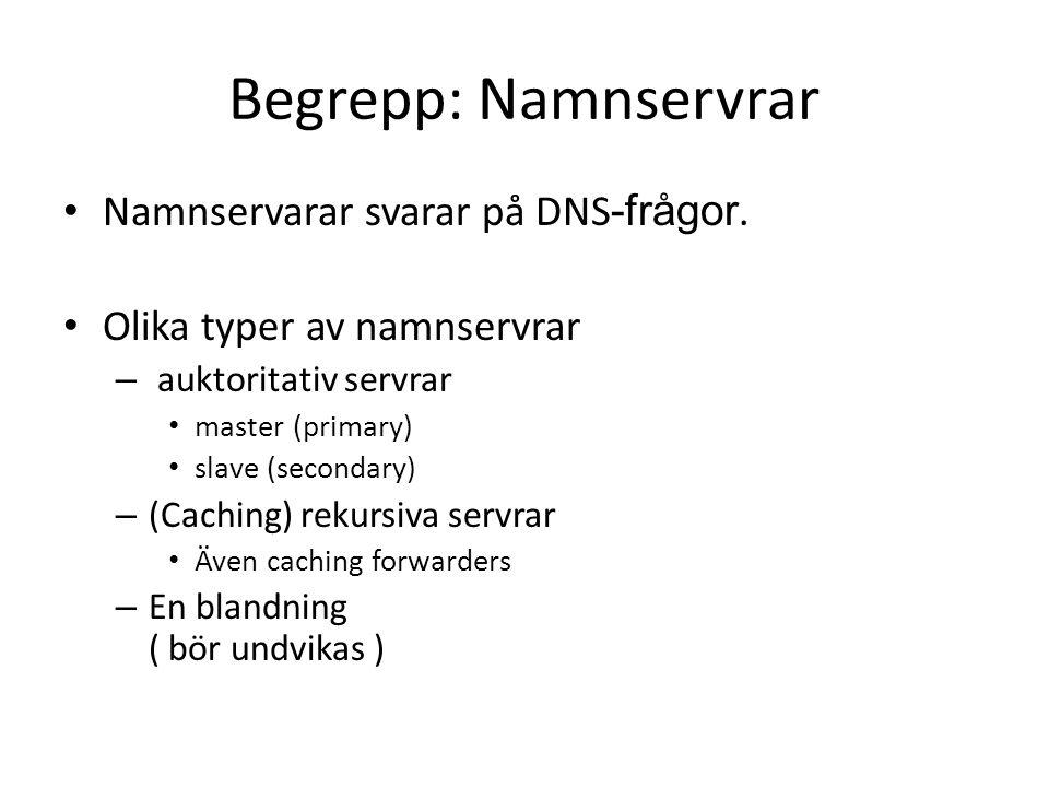 Begrepp: Namnservrar • Namnservarar svarar på DNS -frågor. • Olika typer av namnservrar – auktoritativ servrar • master (primary) • slave (secondary)