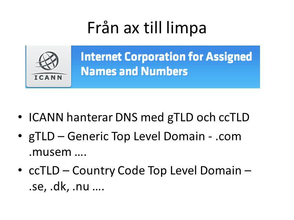 Från ax till limpa • ICANN hanterar DNS med gTLD och ccTLD • gTLD – Generic Top Level Domain -.com.musem …. • ccTLD – Country Code Top Level Domain –.