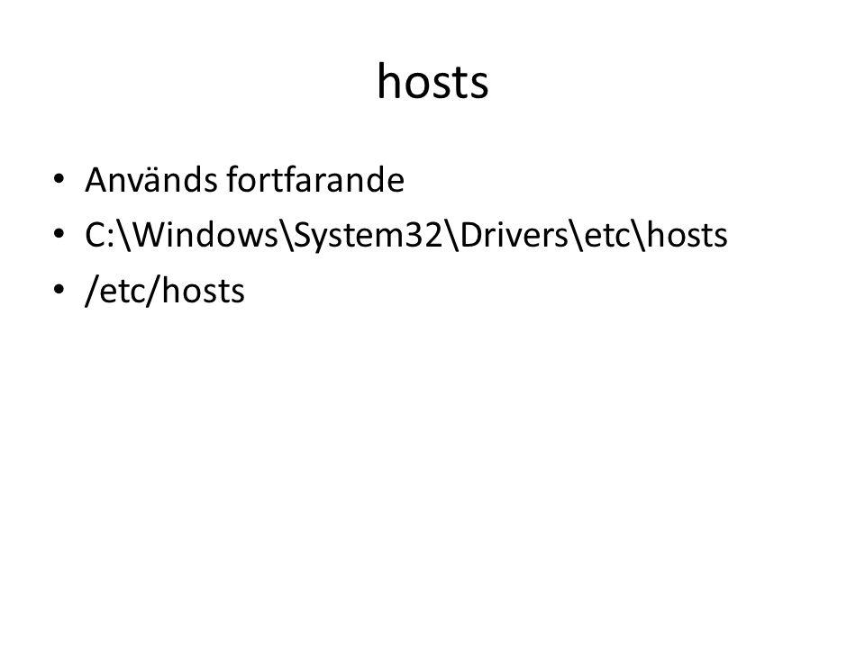 hosts • Används fortfarande • C:\Windows\System32\Drivers\etc\hosts • /etc/hosts
