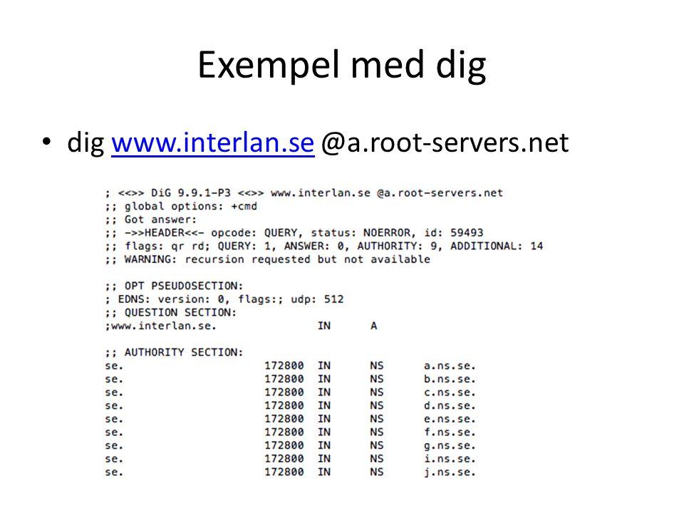 Exempel med dig • dig www.interlan.se @a.root-servers.netwww.interlan.se