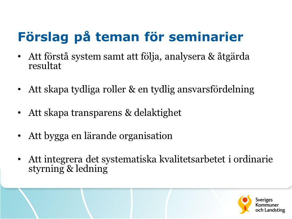 Förslag på teman för seminarier • Att förstå system samt att följa, analysera & åtgärda resultat • Att skapa tydliga roller & en tydlig ansvarsfördeln