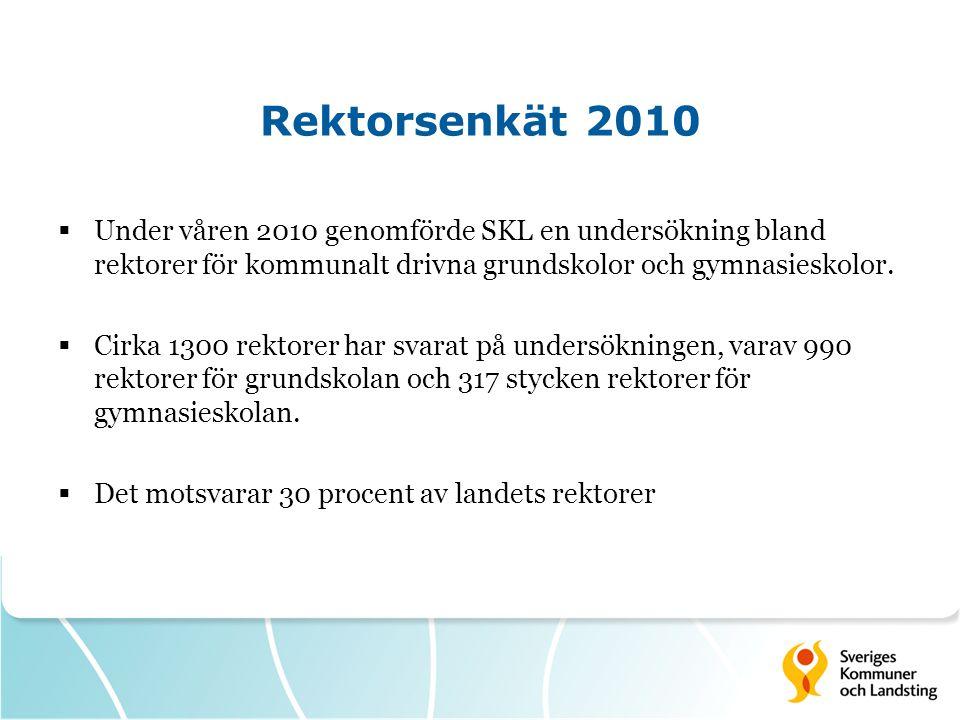 Rektorsenkät 2010  Under våren 2010 genomförde SKL en undersökning bland rektorer för kommunalt drivna grundskolor och gymnasieskolor.  Cirka 1300 r