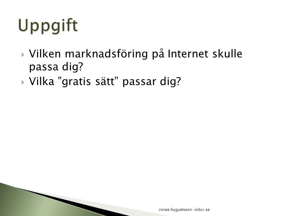""" Vilken marknadsföring på Internet skulle passa dig?  Vilka """"gratis sätt"""" passar dig? Jonas Augustsson - induv.se"""