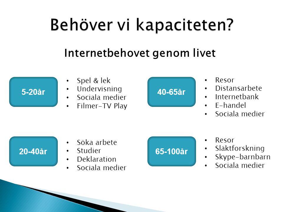Internetbehovet genom livet 5-20år • Spel & lek • Undervisning • Sociala medier • Filmer-TV Play 20-40år • Söka arbete • Studier • Deklaration • Sociala medier 40-65år • Resor • Distansarbete • Internetbank • E-handel • Sociala medier 65-100år • Resor • Släktforskning • Skype-barnbarn • Sociala medier