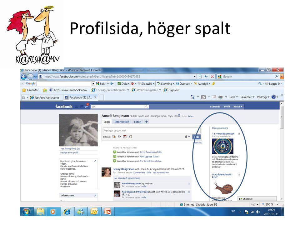 Profilsida, höger spalt