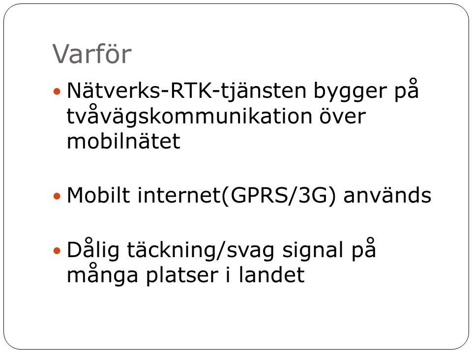 Varför  Nätverks-RTK-tjänsten bygger på tvåvägskommunikation över mobilnätet  Mobilt internet(GPRS/3G) används  Dålig täckning/svag signal på många