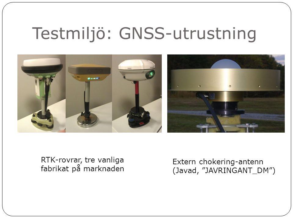 """Testmiljö: GNSS-utrustning RTK-rovrar, tre vanliga fabrikat på marknaden Extern chokering-antenn (Javad, """"JAVRINGANT_DM"""")"""