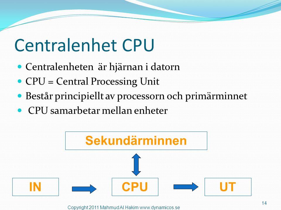 Processor  En viktig beståndsdel i centralenheten  Utför datorns huvudarbete  I IBM första PC användes Intel 8080 – 2 MHz  MHz = Klockfrekvens (megahertz)  Klockfrekvensen är ett mått på hur snabbt processorn arbetar 15 Copyright 2011 Mahmud Al Hakim www.dynamicos.se