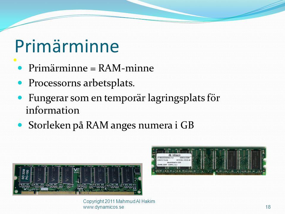 • Ett magnetiskt lagringsmedium • Storleken anges i Gigabyte (GB) och Terabyte (TB) Sekundärminne - Hårddisk 19 Copyright 2011 Mahmud Al Hakim www.dynamicos.se