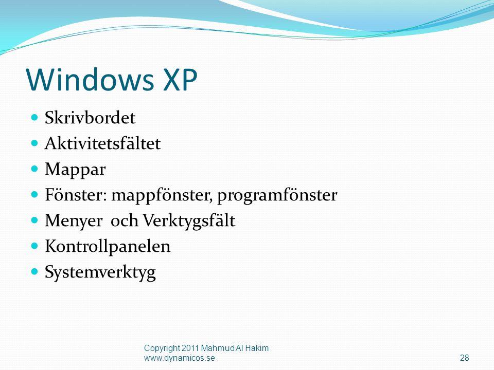 Få hjälp i Windows (F1) 29 Copyright 2011 Mahmud Al Hakim www.dynamicos.se