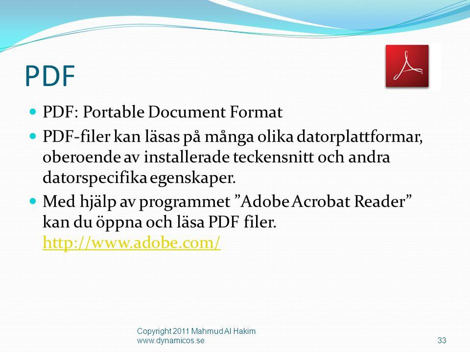 34 Men.. Hur skapar man PDF filer? Sök Ex.Primo Copyright 2011 Mahmud Al Hakim www.dynamicos.se