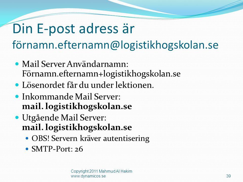 Webmail www.logistikhogskolan.se/webmail  Du kan alltid skicka/ta emot mejl via skolans Webmail Copyright 2011 Mahmud Al Hakim www.dynamicos.se40