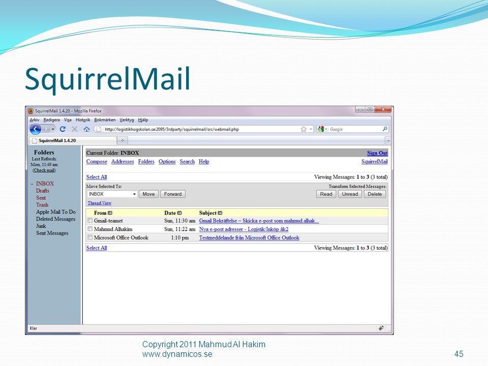 Konfigurera Outlook Express Copyright 2011 Mahmud Al Hakim www.dynamicos.se46  Gå till  Verktyg – Konton…  Lägg till E-post…