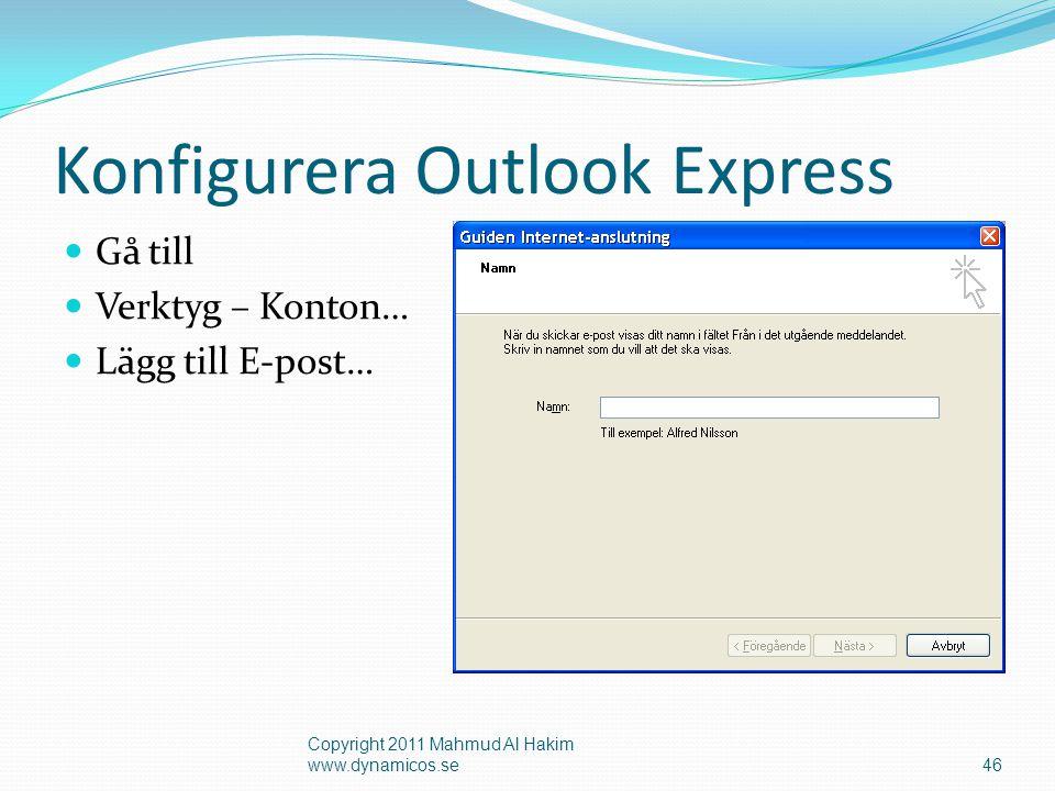 Anslut till POP3 Copyright 2011 Mahmud Al Hakim www.dynamicos.se47