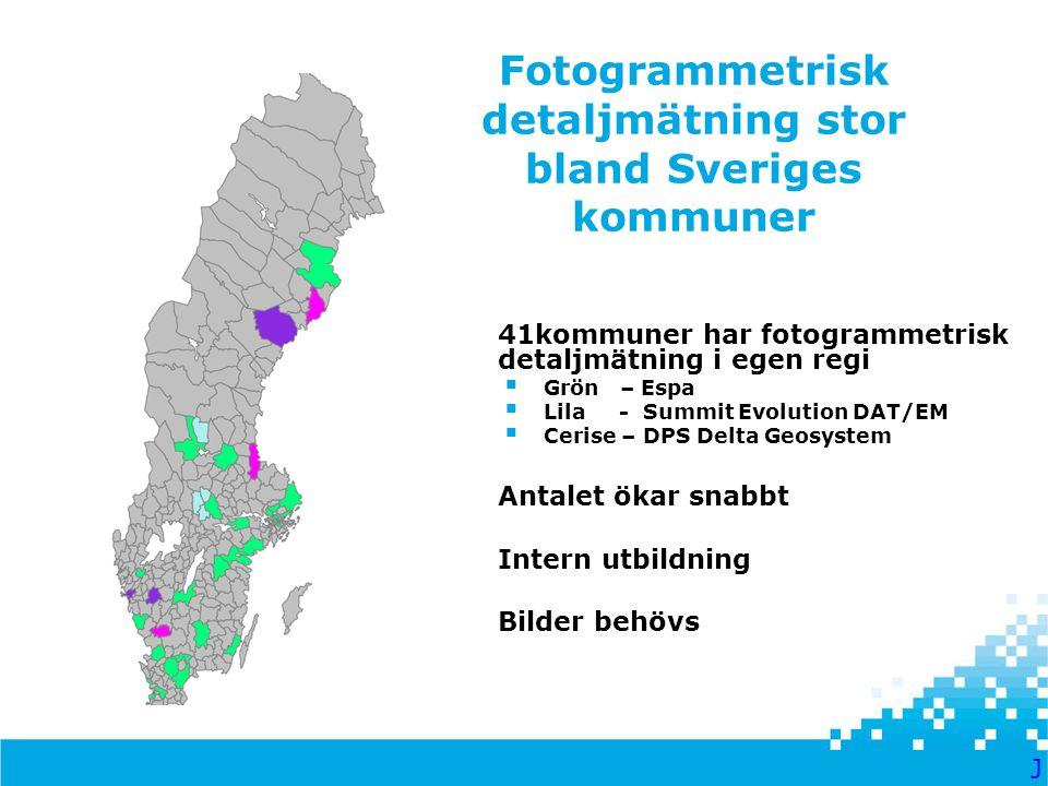Fotogrammetrisk detaljmätning stor bland Sveriges kommuner  41kommuner har fotogrammetrisk detaljmätning i egen regi  Grön – Espa  Lila - Summit Ev