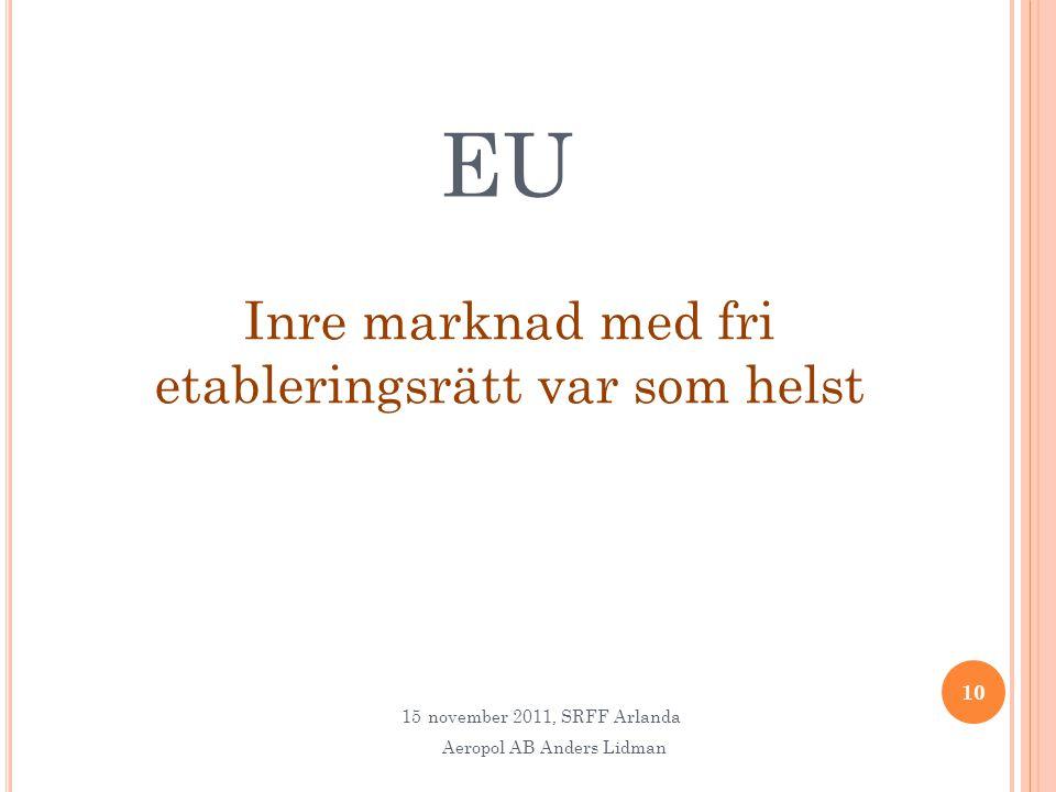 EU Inre marknad med fri etableringsrätt var som helst 10 15november 2011, SRFF Arlanda Aeropol AB Anders Lidman